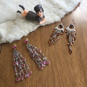 💎 Lot of 2 Pairs Silver Tone Chandelier Earrings